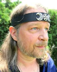 leather headband crescent moon pentacle headpiece ritual leather headband