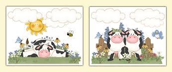 Farm Animal Nursery Decor Cow Wall Prints Baby Barnyard Farm Animal Nursery Decor