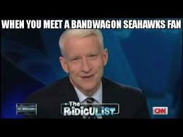 Seahawks Bandwagon Meme - anderson cooper can t stop laughing seahawks bandwagon fan