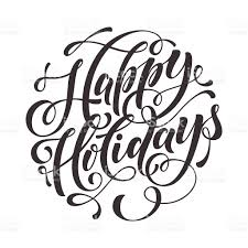 happy holidays text for greeting card invitation stock vector