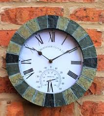 garden wall clock thermometer outdoor wall mounted clock
