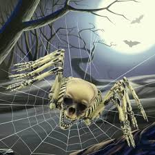 giant spooky hanging spider skeleton decor and costume