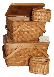 picnic baskets for two fe wood picnic baskets with two handles set of 2