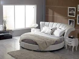 modern leather round bed with luxury curved headboard west