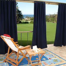 sunbrella canvas navy outdoor curtain with tabs 50 in x 84 in