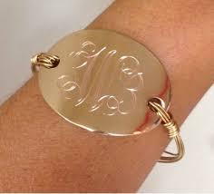 monogrammed bangle bracelet oval monogram wire wrapped bangle bracelet i jewelry