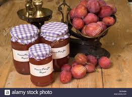 jam making with victoria plums showing freshly gathered fruit and