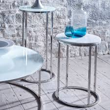 blue and white table ls circular side table white with polished collection from gillmore