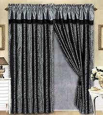 Black And Grey Curtains Black Grey Flocking Leopard Satin Window Curtain Drape