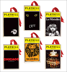 playbill ornaments from the broadway cares classic collection