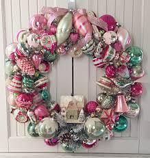 sample large pink green vintage ornament wreath
