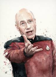 Captain Picard Meme - annoyed picard meme watercolor picard print star trek art