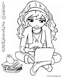 lego friends reading book coloring pages printable
