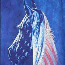 Horse With American Flag Patriotic American Flag Horse Print T Shirt In Blue U2013 Dotoly