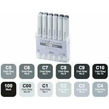 marcadores copic sketch set x 12 escala de grises frios cg