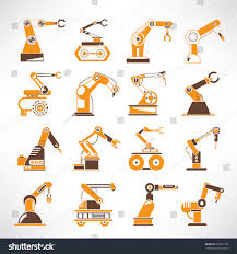robot icons robotic arm iconsindustrial robot stock vector