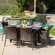 bond outdoor 7 piece wicker dining set u2013 noble house furniture