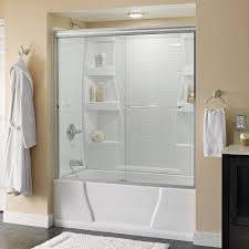 Sliding Bathtub Shower Doors Delta Simplicity 60 In X 58 1 8 In Semi Frameless Sliding