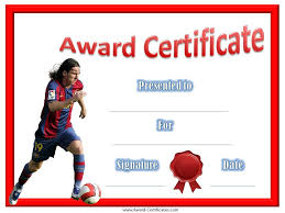 leo messi award certificate