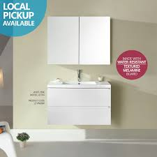 Narrow Bathroom Vanities Astra Slimline 900mm White Pine Timber Wood Grain Narrow