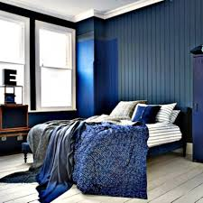 contemporary black and white blue bedroom with walls bedding wood