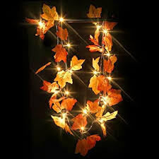 battery lighted fall garland amazon com maxesla decorative lights fall garland lighted led