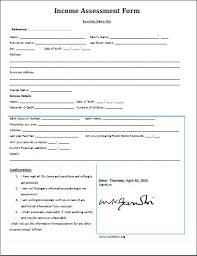 income assessment form ms word income assessment form template