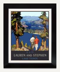 unique wedding present custom wedding gift personalized lake tahoe wedding poster