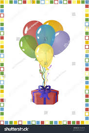 balloons in a box birthday card bunch balloons gift box stock illustration 9566848