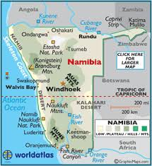 und cus map namibia maps including outline and topographical maps worldatlas com