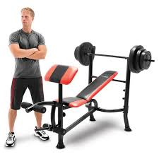 Weight Bench With Bar - competitor bench 100 lb weight set cb 2982 quality strength