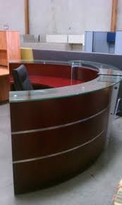 Office Table With Glass Top Two Tones Half Round Office Desk With Frameless Glass Top