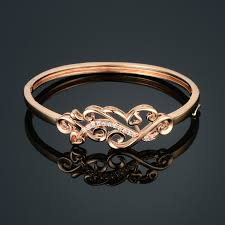 gold heart bangle bracelet images Buy excellent heart flower channel bangles jpg