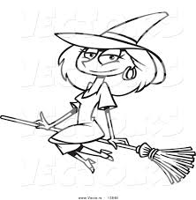 vector of a cartoon beautiful witch sitting on her broomstick