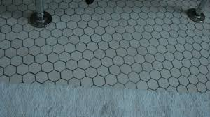 hexagonal bathroom tile installation
