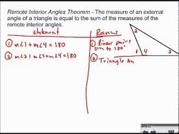 Measures Of Interior Angles Remote Interior Angles Theorem Proof Youtube