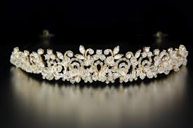 wedding tiara swarovski wedding tiara with rhinestones in 14k gold