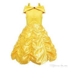 wedding dress costume 2018 2017 princess kids costume girl yellow birthday party