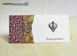 Sikh Wedding Invitations Sikh Paisley Pattern Wedding Invitation With Foiling Ribbon And