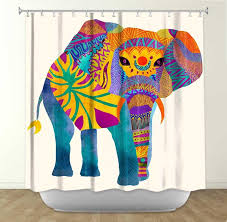 Graphic Shower Curtains by Whimsical Elephant I By Pom Graphic Design Fabric Shower Curtain
