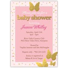 pink and gold baby shower invitations pink gold butterfly baby shower invitations paperstyle