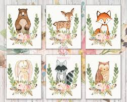 bear deer fox bunny rabbit racoon owl woodland boho printable wall