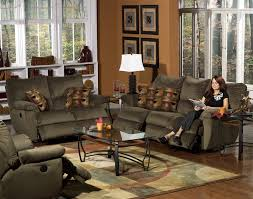 Power Reclining Sofa Set 2 Power Reclining Sofa Set In Mocha Suede Fabric By
