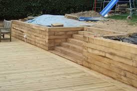 timber sleeper retaining wall design for garden beds u2014 farmhouse