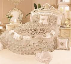 Comforters And Bedspreads Tache 6 Pc Frosted Fields Field In Beige Cream Ruffled Satin Quilt