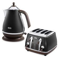 Toaster Retro De U0027longhi Icona Vintage 4 Slice Toaster And Kettle Bundle Black