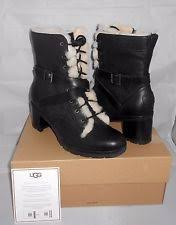 s lace up boots size 9 ugg tisdale black leather buckle bicker sheepskin s boots