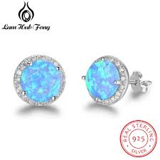 best earrings blue opal stud earrings real 925 sterling