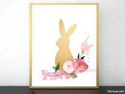 Easter Bunny Decorations Printable by Floral Easter Bunny In Faux Gold Foil Effect Printable Easter