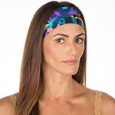 workout headbands blue neon cheetah non slip boho wide workout headband vero brava